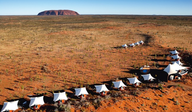 The spectacularly unique backdrop at Longitude 131° - Uluru and the Red Centre