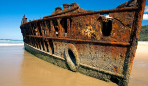 """The wreck of the Maheno, along the """"highway"""" of Fraser Island's Eastern Beach."""
