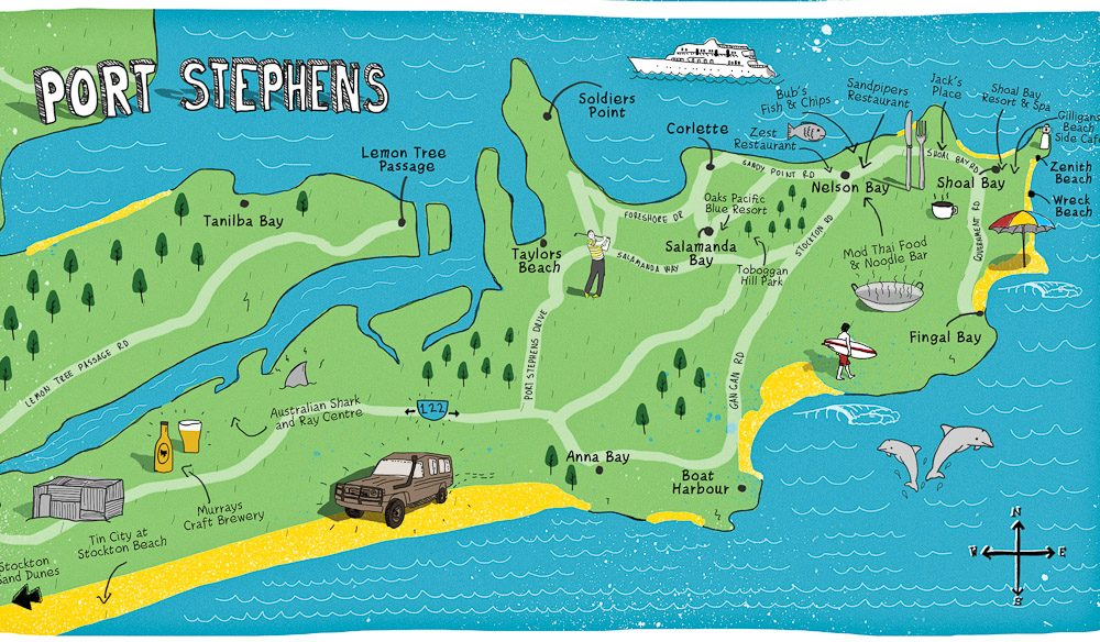 port stephens australia map   CitiesTips.com