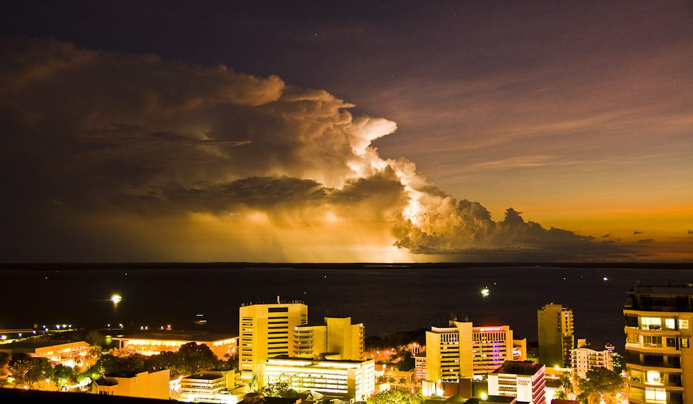 Darwin's skyline during a tropical thunderstorm