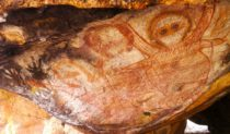 Wandjina art at Kimberley Coastal Camp, Western Australia.