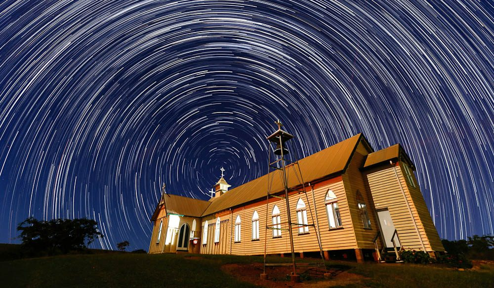 Star trails at Ravenswood Church, QLD (by Cameron Laird).