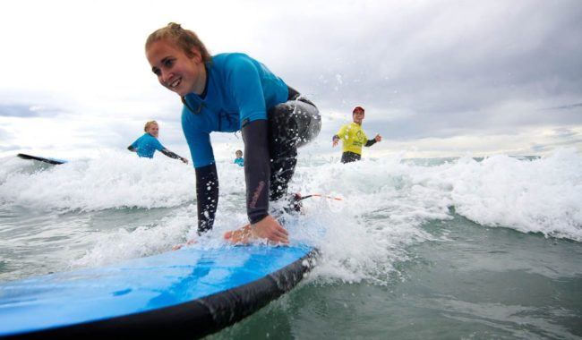 Surf's Up: First tentative steps, Coast Rider Academy, Clifton Beach, Tasmania.