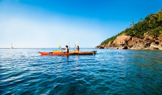 Campers can make their way between idyllic Whitsundays camping spots by kayak
