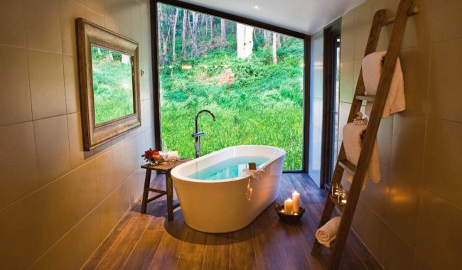 The Buckland: High Country views from your cosy bath.
