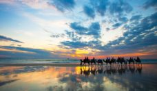 Broome's Cable Beach camel trek into the sunset.