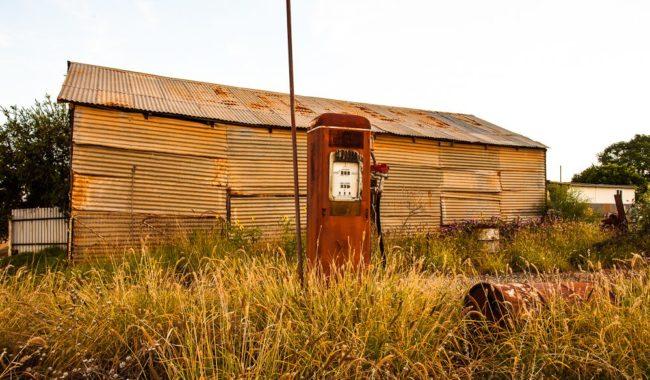 A lone petrol pump: Cobar, NSW