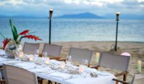 Eating on a private beach Bedarra Island Queensland