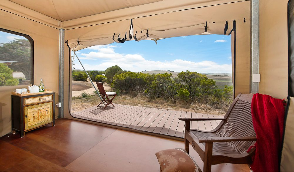 The generous deck Pebble Point glamping Great Ocean Walk