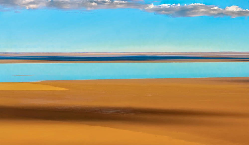 Reflection on Lake Eyre, by Peter Elfes.