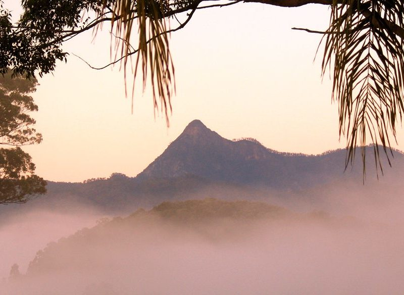 The morning mist clears over Mount Warning, Cape Byron, NSW.