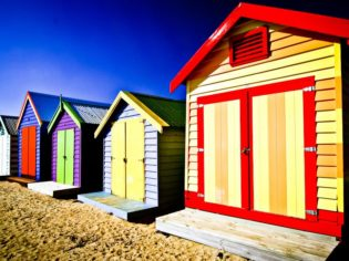 The vibrant beach shacks of Melbourne's Brighton.