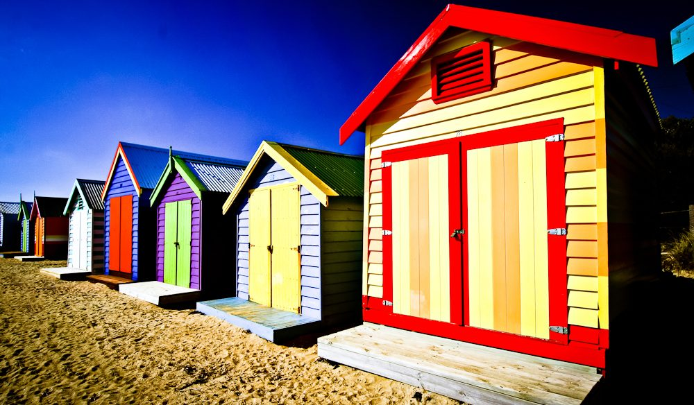 The vibrant beach shacks of Melbourne's Brighton.