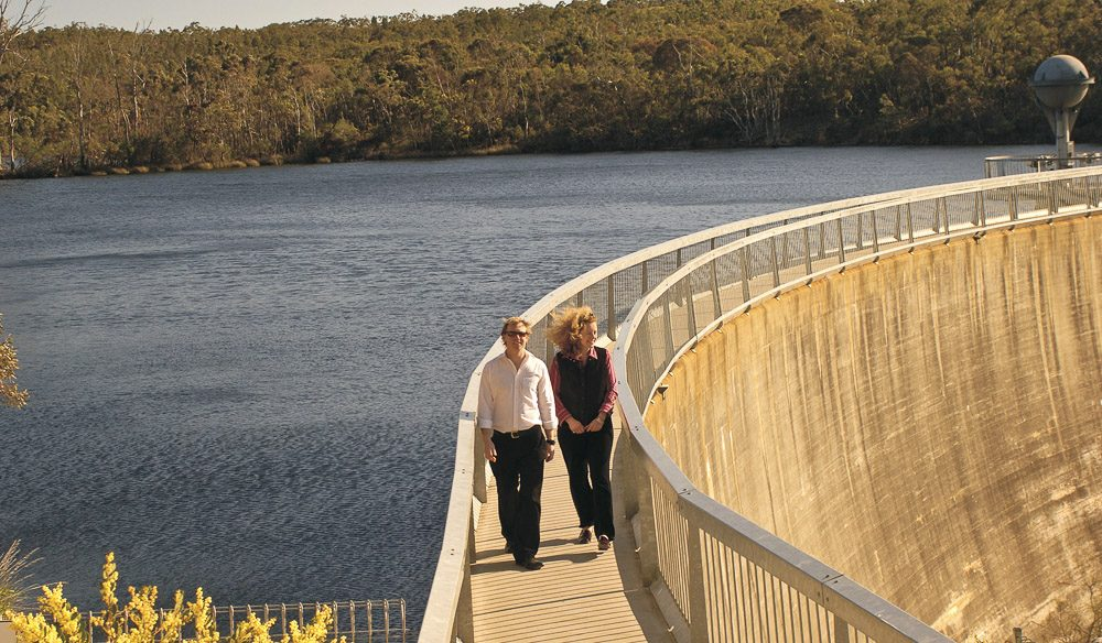 Share your secrets with a lump of concrete at the Barossa Reservoir's Whispering Wall.
