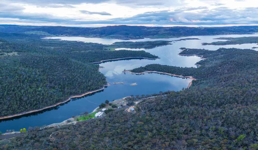 Aerial Panorama of Lake Jindabyne and Snowy River, New South Wales, Australia