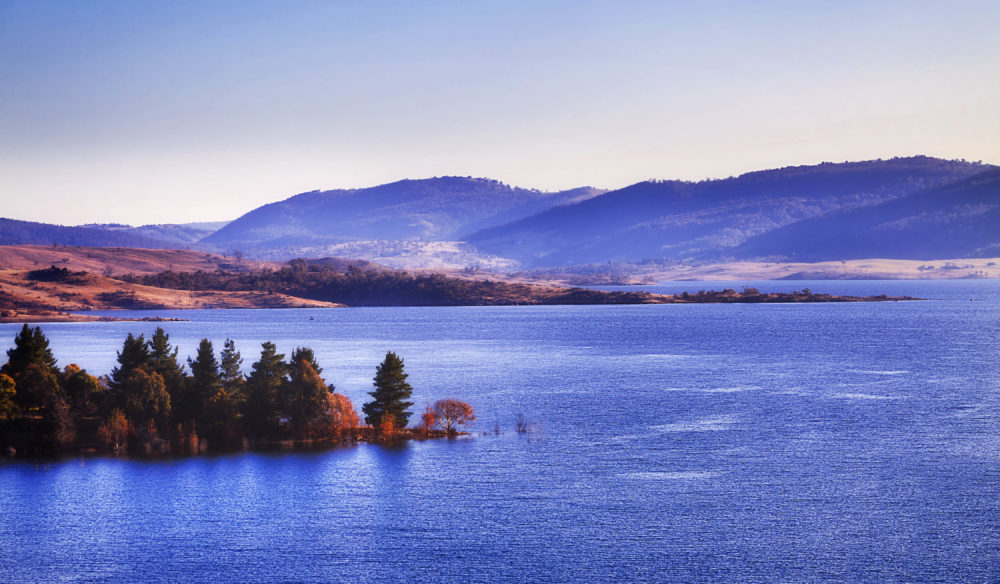 Jindabyne lake takes its best shape on a sunny winter day
