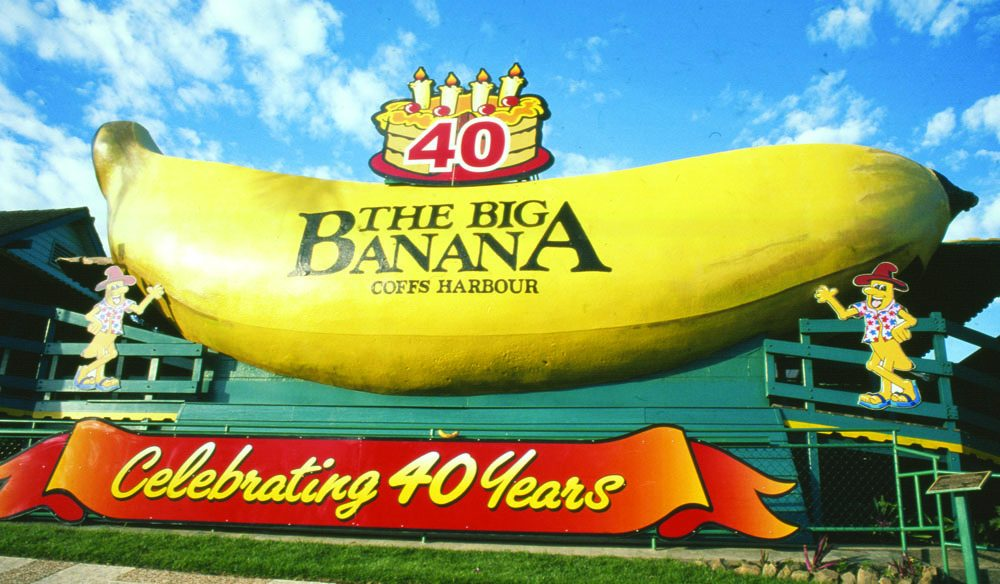 The kids will not let you pass by the Big Banana at Coffs Harbour, mid north coast of NSW.