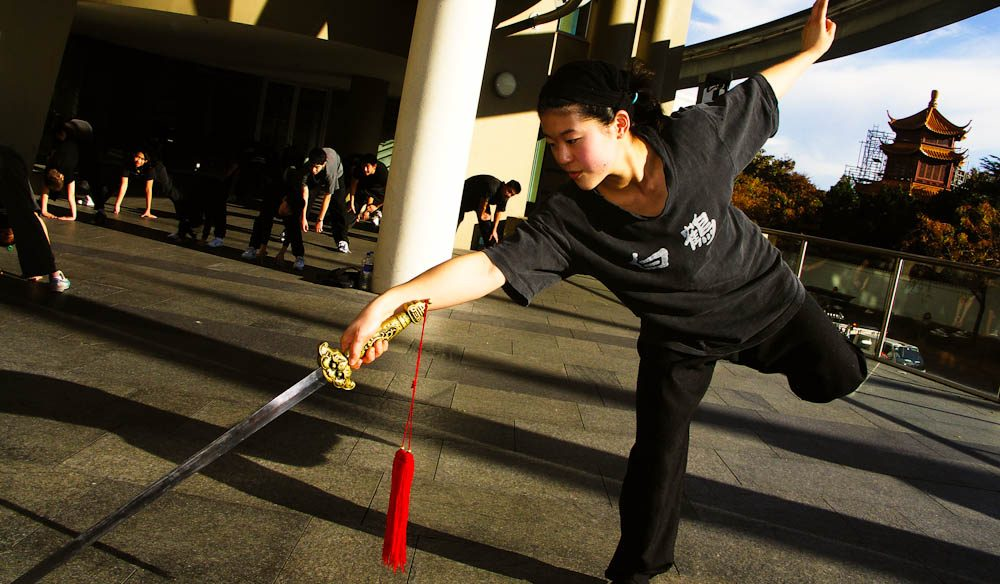 Elizabeth Kuo unloads a kung fu move near the Chinese Garden of Friendship, Sydney