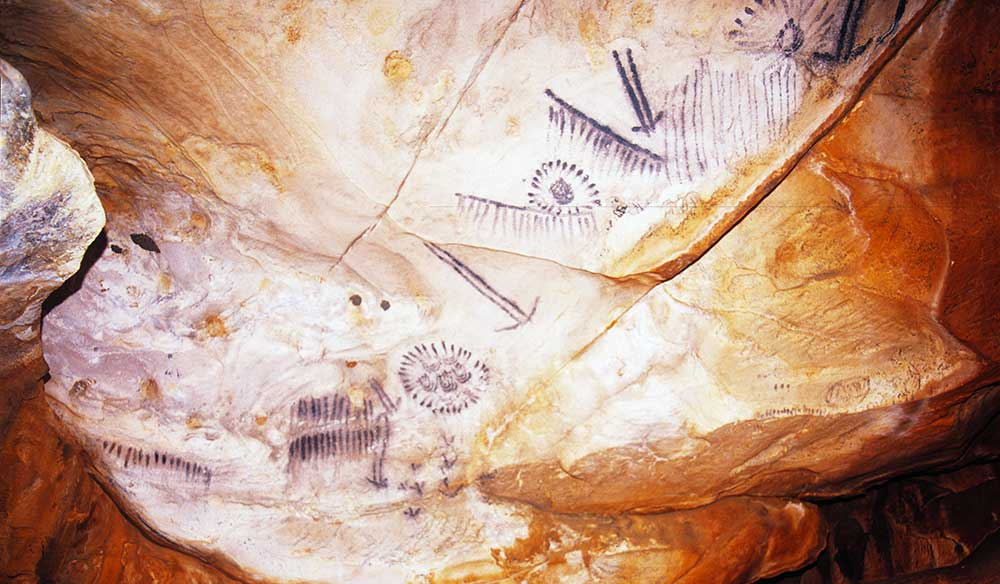 Aboriginal roack art at Yourambulla Caves. Image by Ken Martin.
