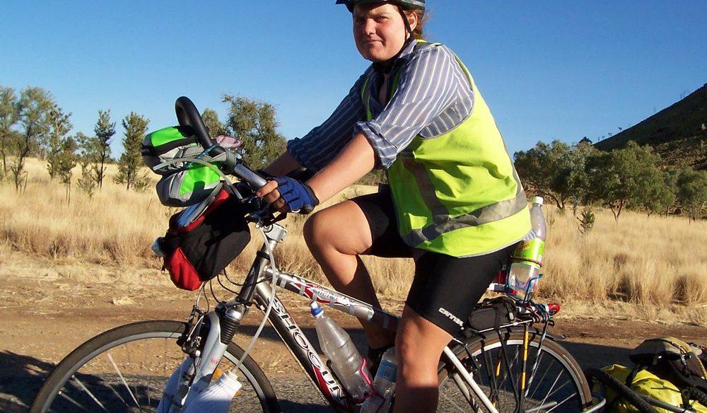 Australian Traveller reader Anne Fitzpatrick cycles down the Stuart Highway.