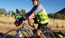 Australian Traveller reader Anne Fitzpatrick cycles down the Stuart Highway.