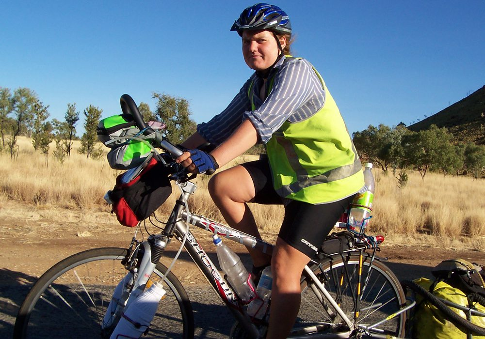 Australian Traveller reader Anne Fitzpatrick cycles down the Stuart Highway to Alice Springs..