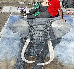 Bruce Doran's elephantine work from the 2007Chalk Urban Art festival