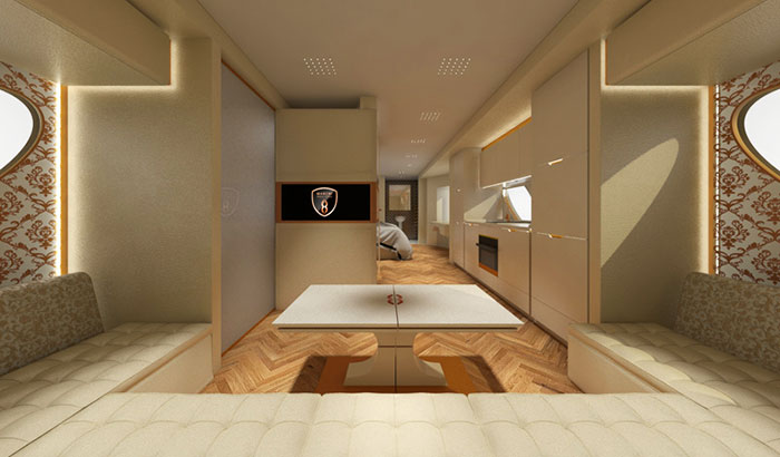 The living room, with 4m sofa, on board the world's most expensive RV, the eleMMent Palazzo Superior.