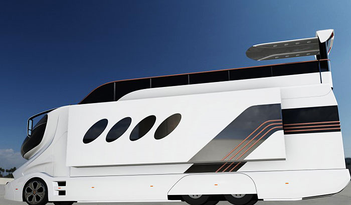 The world's most expensive RV, the eleMMent Palazzo Superior has a 'pop-up' roof top deck they call the Sky Deck.