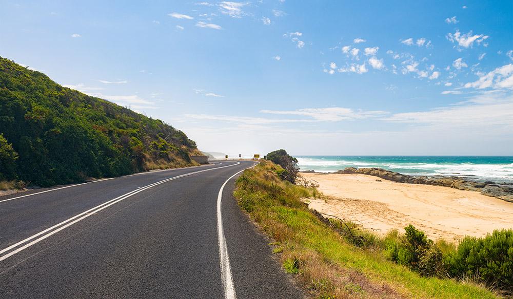 A sandy beach road trip drive through NSW