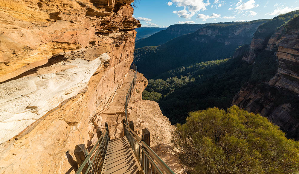 Mountain track staircase over steep cliff edge. Wentworth Falls