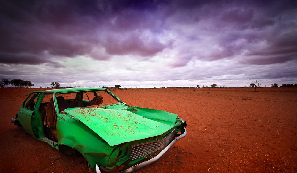 The red dirt (and green wreck) of outback Kurunpa.