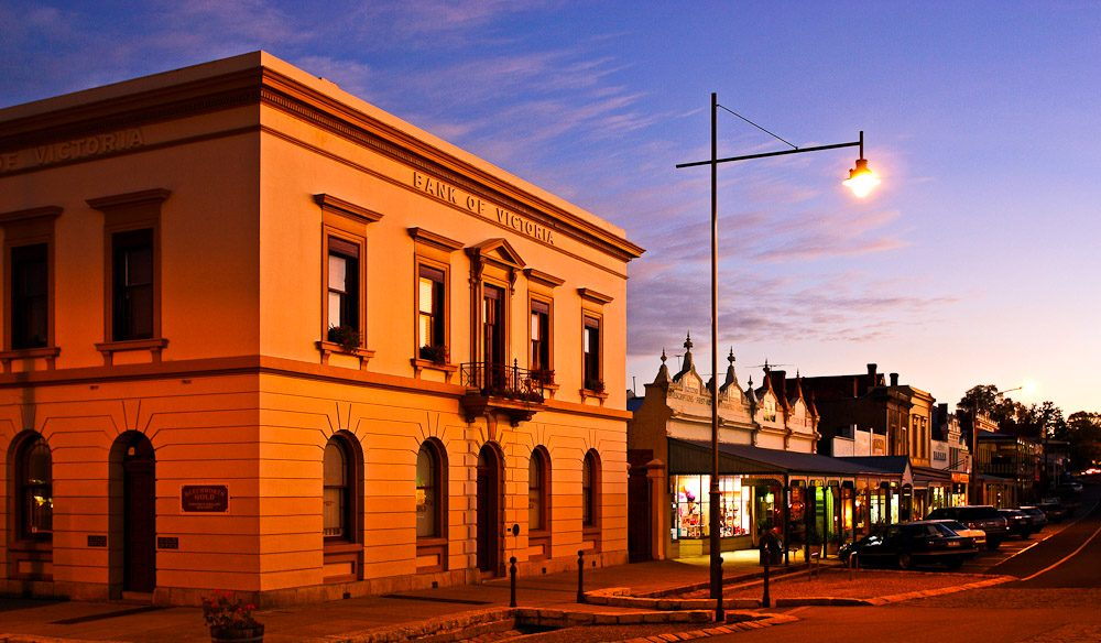 The former Bank of Victoria in Ford Street, now a jewellery store, was built in 1857 and is just one of many historic buildings lining the streets of Beechworth. Image by Darren Stones www.dgstonesphotography.blogspot.com