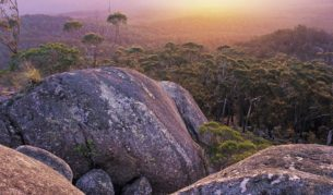 Sunsetting over the mountains of Croajingolong National Park. Image by Tourism Victoria.