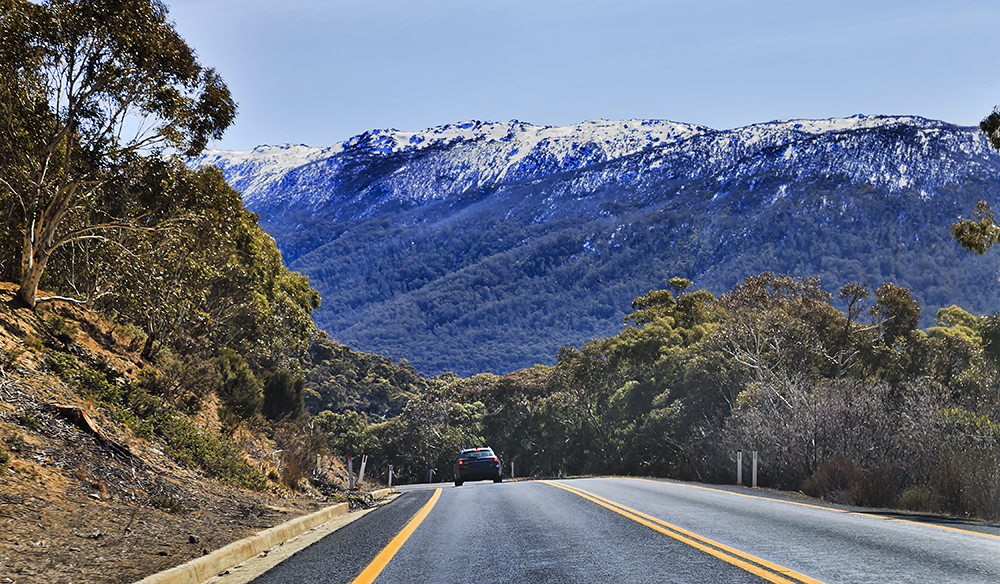 WInding thredbo road in Snowy mountains national park