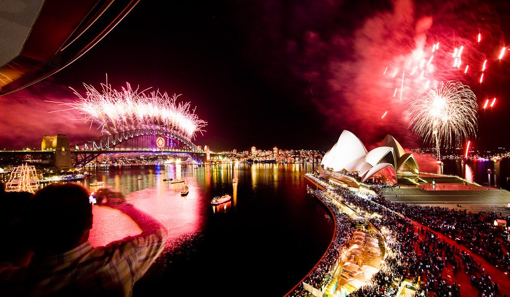 Fireworks over Sydney Harbour.