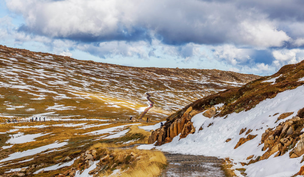 Views of the Mount Kosciuszko summit walk. Snowy Mountains