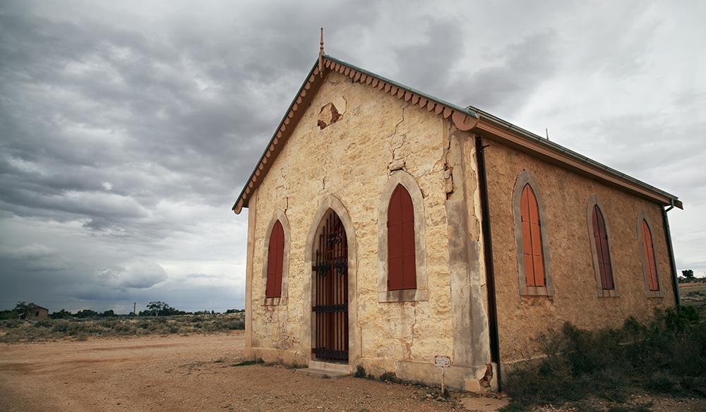 Historic Methodist church in Silverton, Australia, established in 1885.