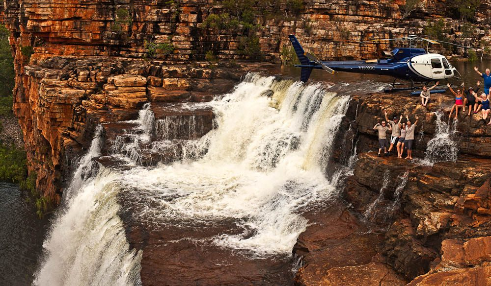 """This view perfectly shows the epic landing area for the helicopter and how close the falls are to where we land"