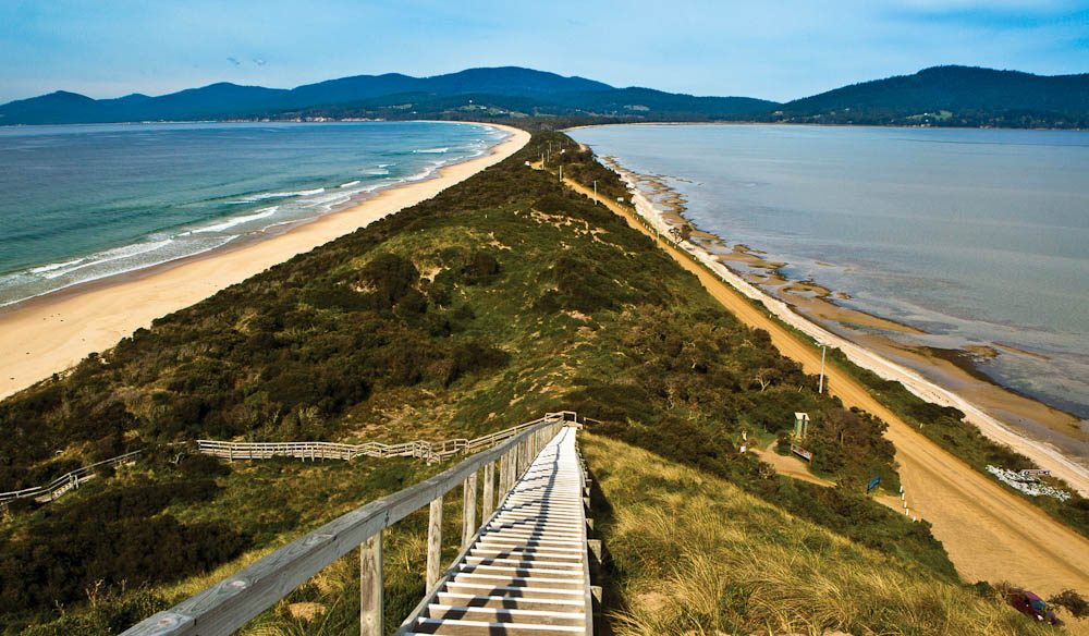 """This is one of my favourite places, where The Neck separates Adventure Bay on the left and Simpsons Bay to the right"" – Diane Byrne, Tourism Tasmania"