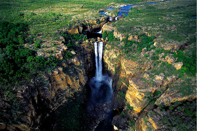 The splendour of Kakadu's Jim Jim Falls isn't exactly what you'd call year-round. Here, during the wet, they're at their most majestic -- and least accessible. Image by Tourism NT