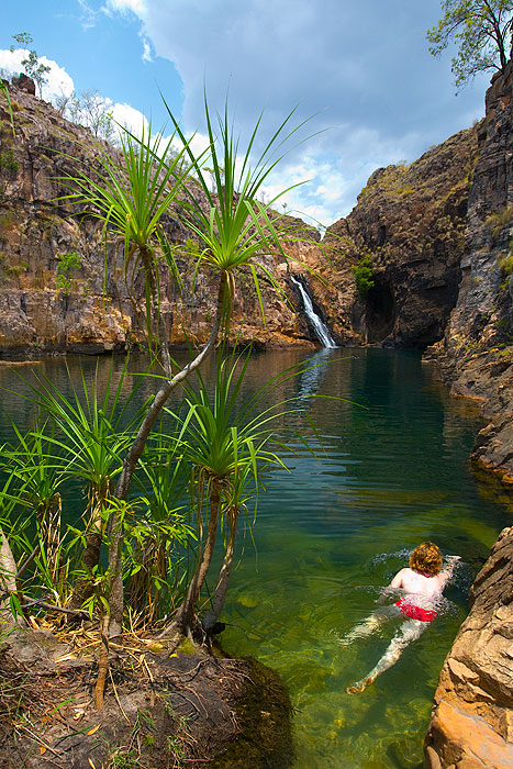 You can swim in many of  the waterholes of Kakadu, just make sure you check with rangers on which are open and which are closed fro swimming.  (Photo: Tourism NT)
