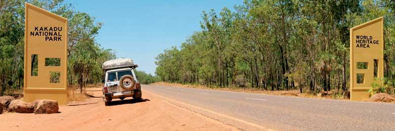 The remote entrance to Kakadu National Park.