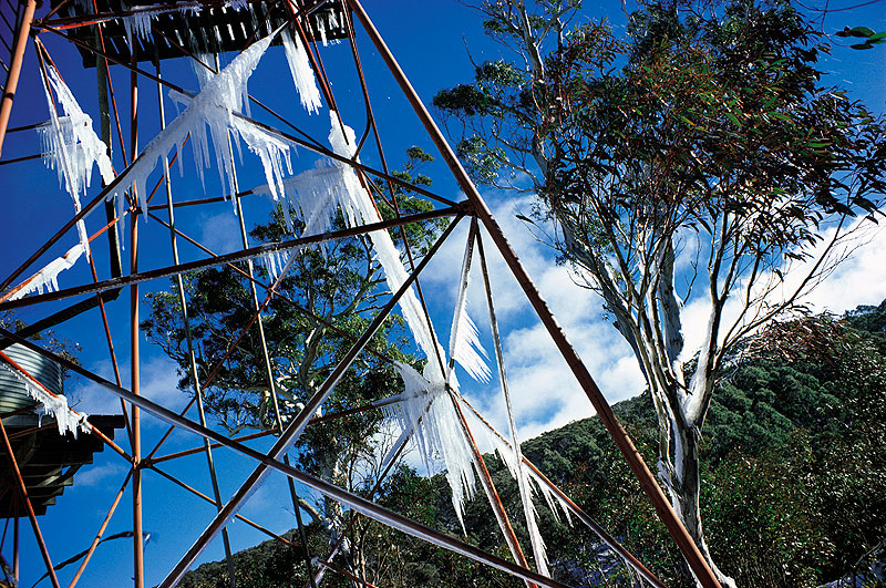 Icicles adorn a ski-lookout tower.