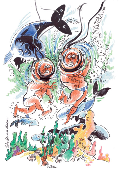 Peter and his trochus shell-diving pal. Illustration by Peter Russell-Clarke