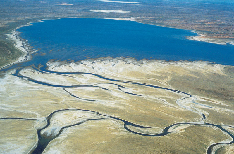 When Lake Eyre becomes an actual lake. Image by Tourism South Australia