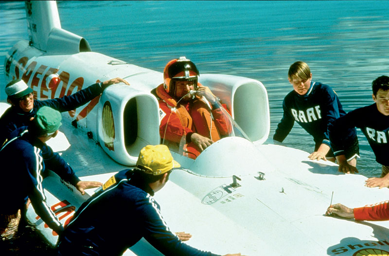 Setting the pace with Ken Warby in the world's fastest boat. Image by Australian National Maritime Museum