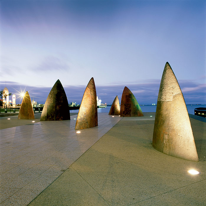 The distinctive Sharks Teeth art installation on Eastern Beach. Image by Tourism VIC