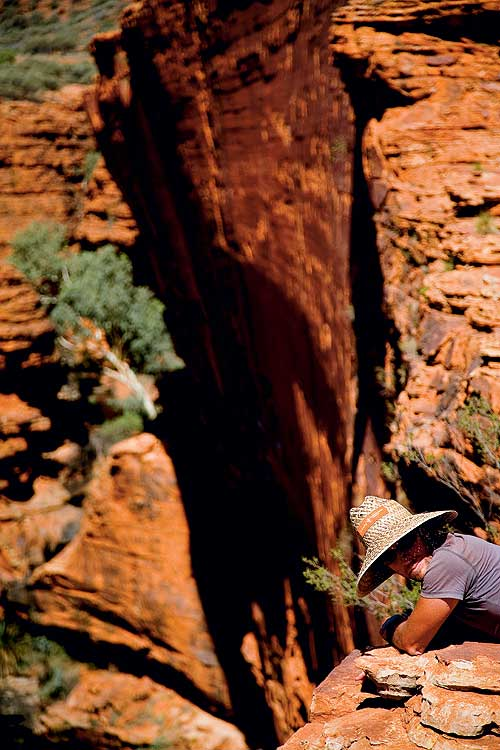 Perched on the edge of the 270m-deep Kings Canyon.