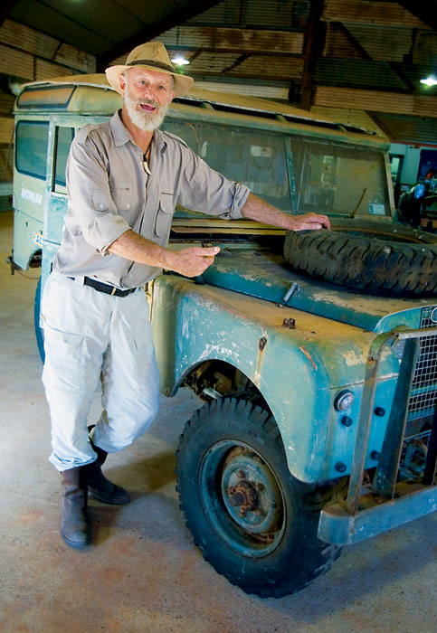 Filming his first trip Across the Top in his 1954 Land Rover changed everything for Broome local Malcolm Douglas, who became a croc hunter, croc farmer and outspoken Kimberley conservationist. Image by David Bristow